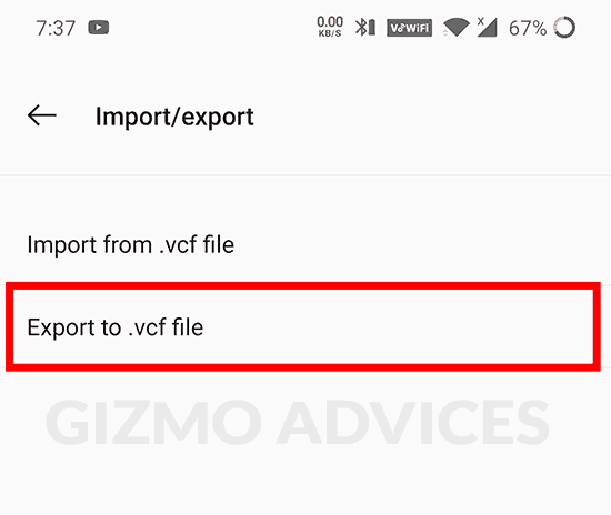 Android Contacts export as vcf file