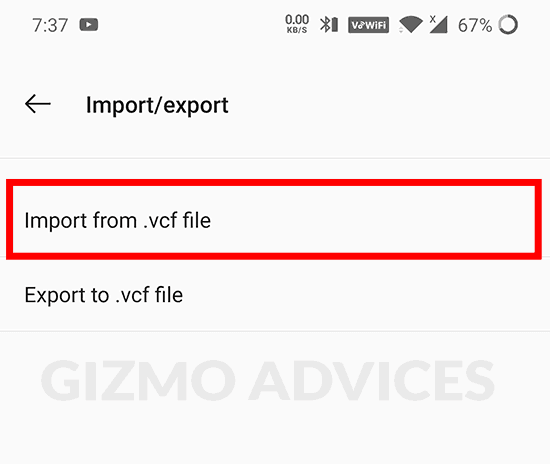 Android Contacts import vcf file