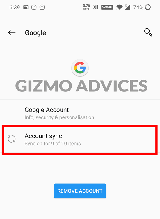 Google Account Android Settings