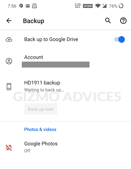 Back up data to Google Drive