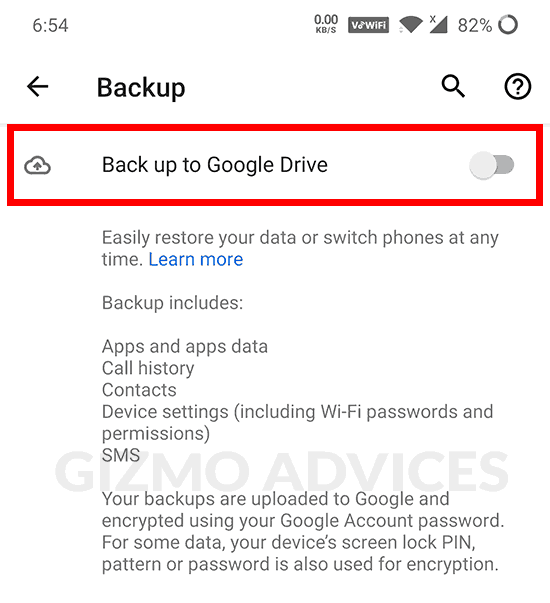 Back up to Google Drive Android Settings