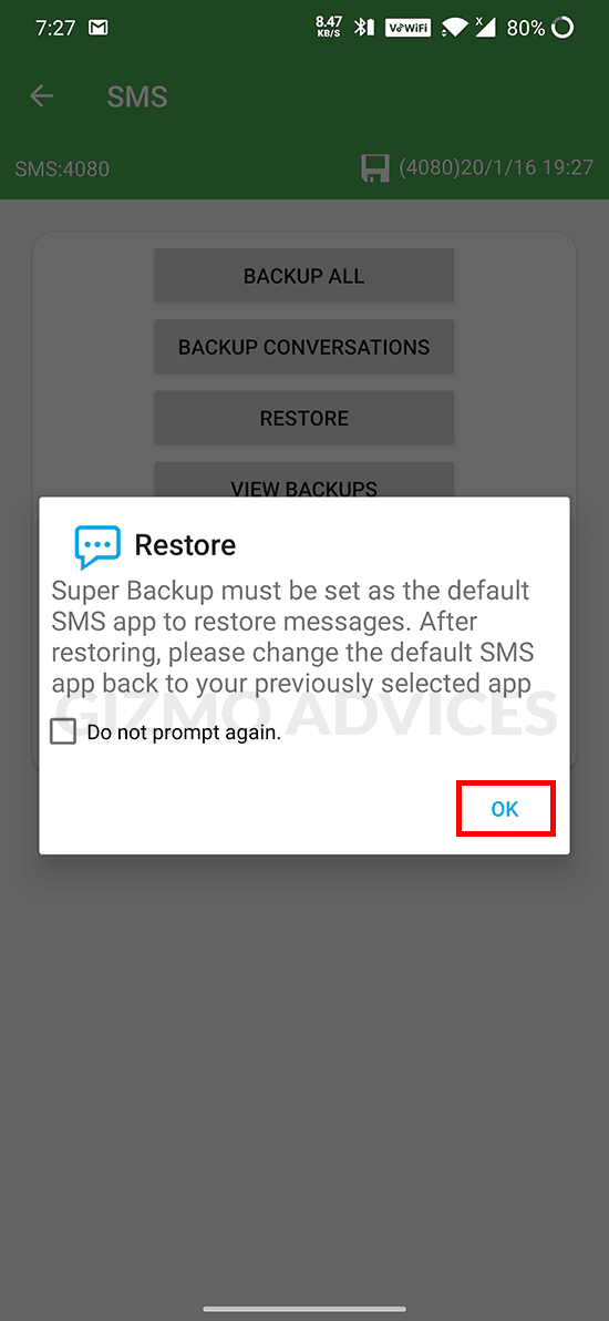 Super Backup and Restore - set as default SMS app prompt