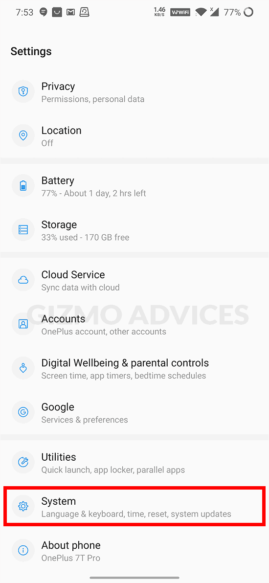 System Settings Android