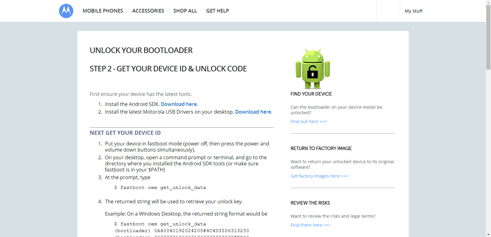Unlock Bootloader on Motorola devices