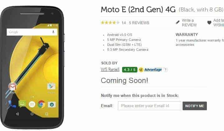 Moto E 2nd gen 4G
