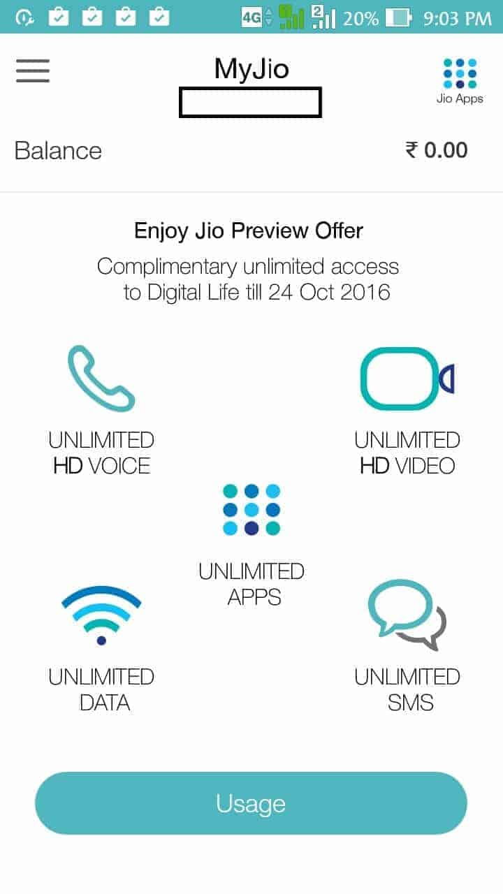 Activate Unlimited Offer on Jio 4G instead of 2GB Data, 100 mins Calls and 100 SMS