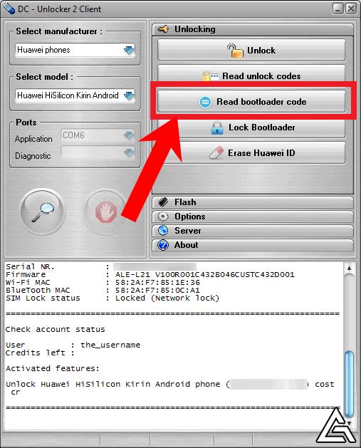 DC Unlocker 2 Client - Read Bootloader Code