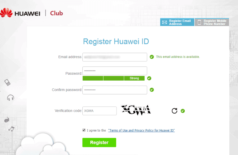 Register Huawei ID Account