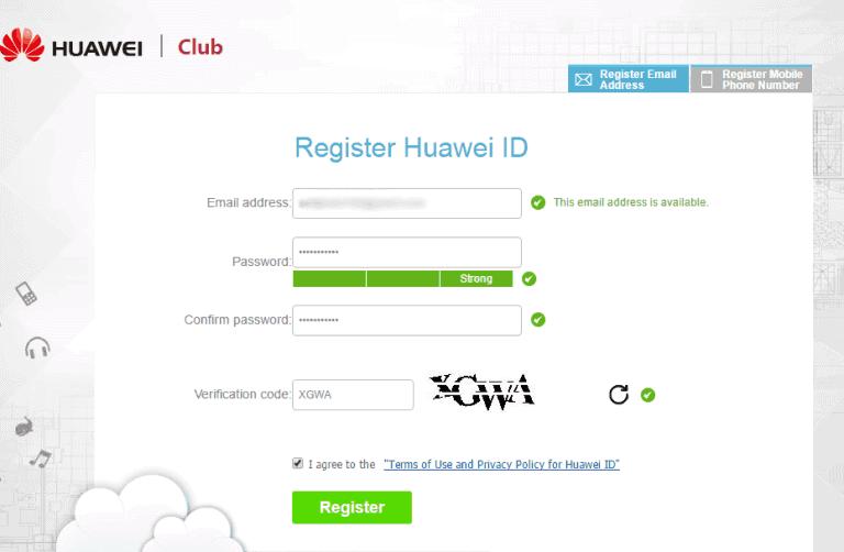 Register Huawei ID Account