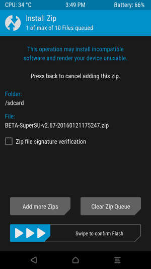 TWRP Swipe to confirm flash SuperSU