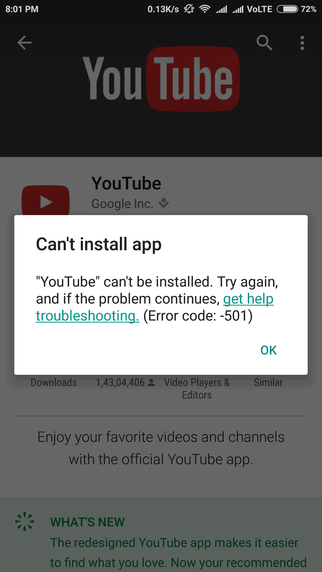 Fix Google Play Store Error -501 or YouTube Error 501 on Android