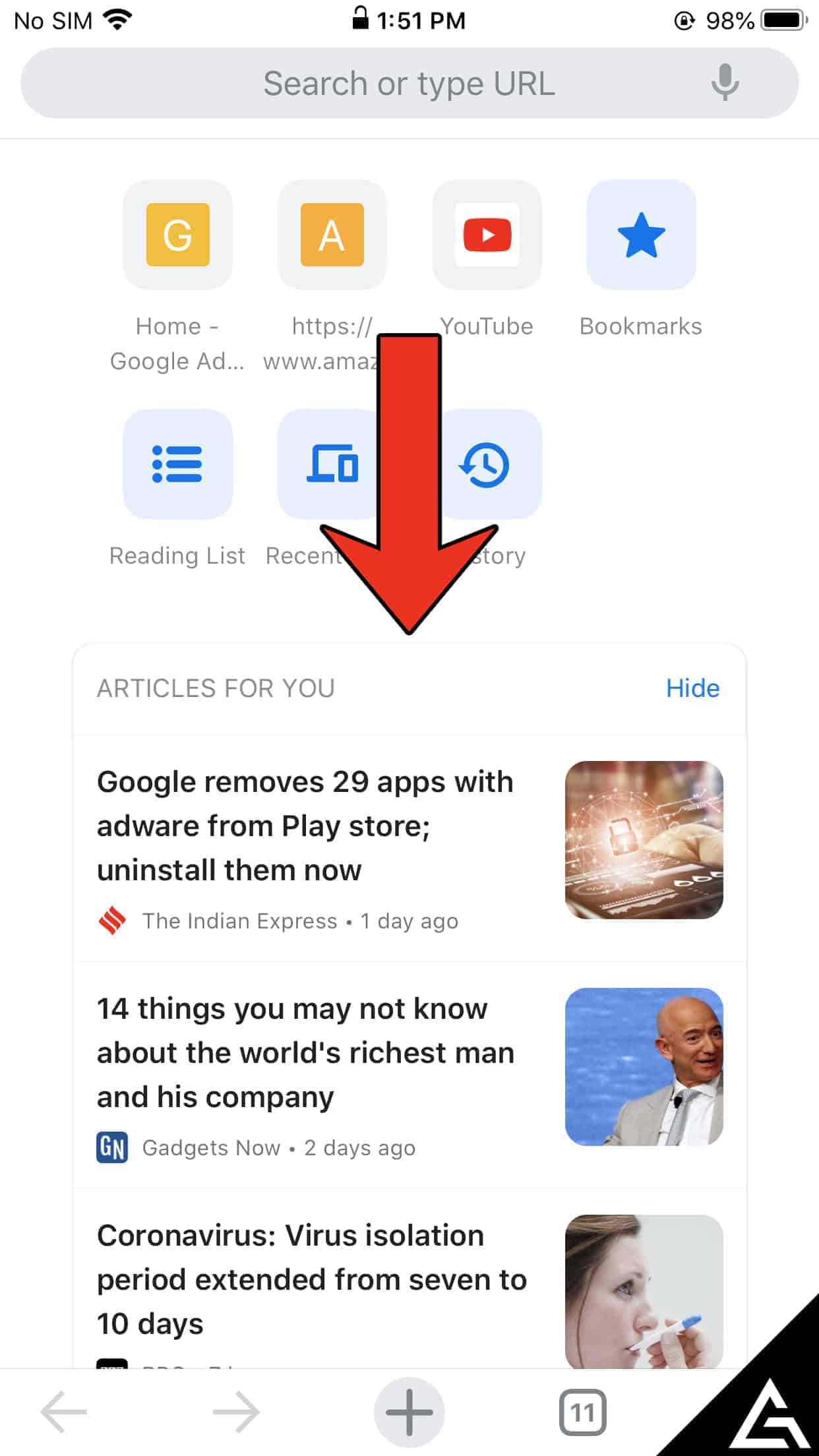 Google Chrome Articles for you on iOS