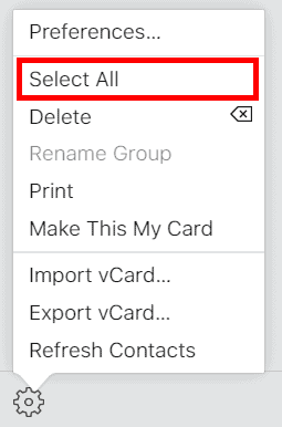 iCloud Select all contacts