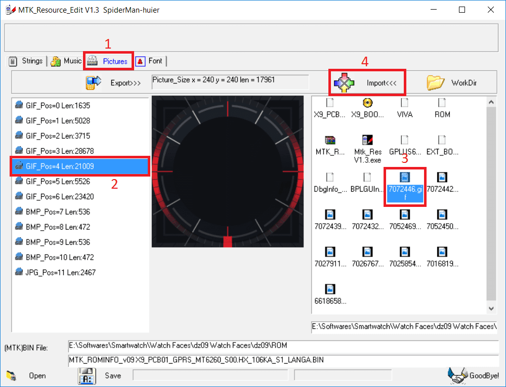 MTK Resource Edit Replace Watch Face Change DZ09 Clock Face