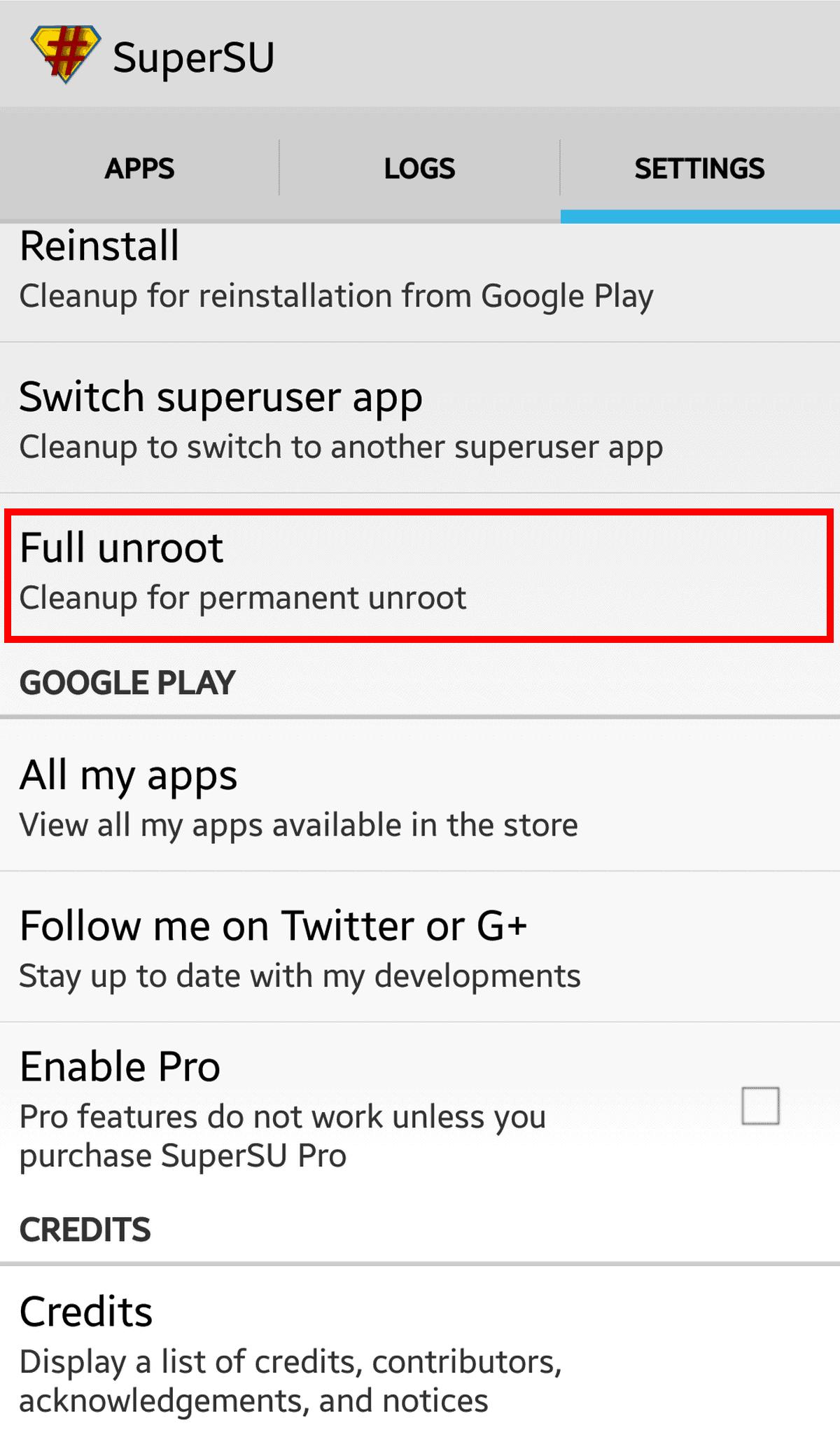 Uninstall SuperSU Full unroot