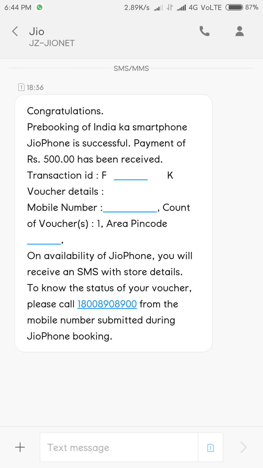 JioPhone Booking Confirmation