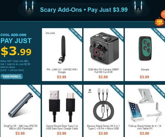 GearBest Halloween Party Promotion 2017 Add-Ons
