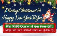 CooliCool's Christmas and New Year Sale! Win $100 Coupons and Get Free Gifts