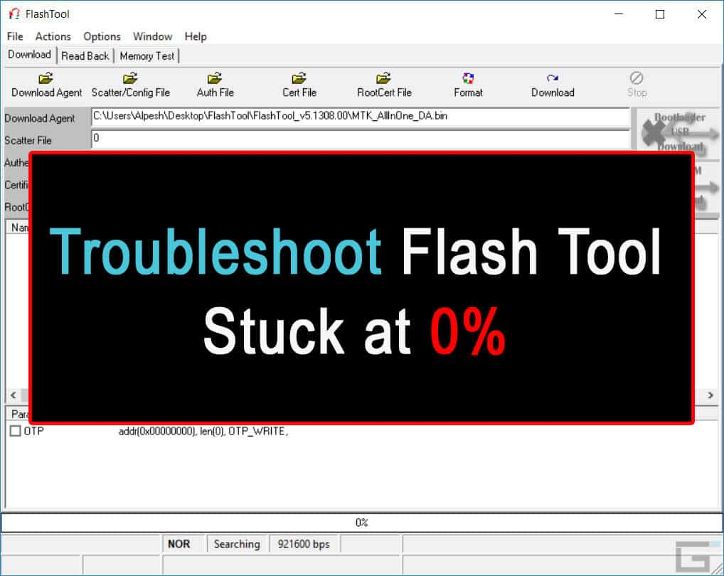 Flash Tool Stuck at 0%