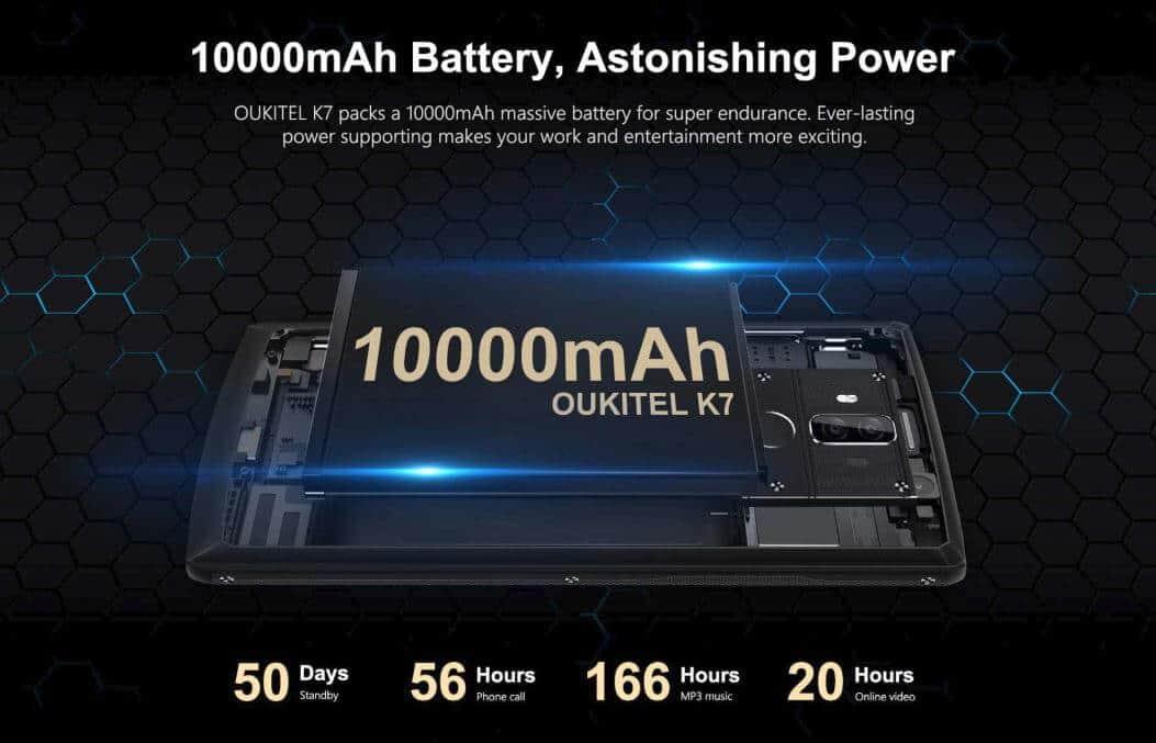 OUKITEL K7 - 10000mAh Battery