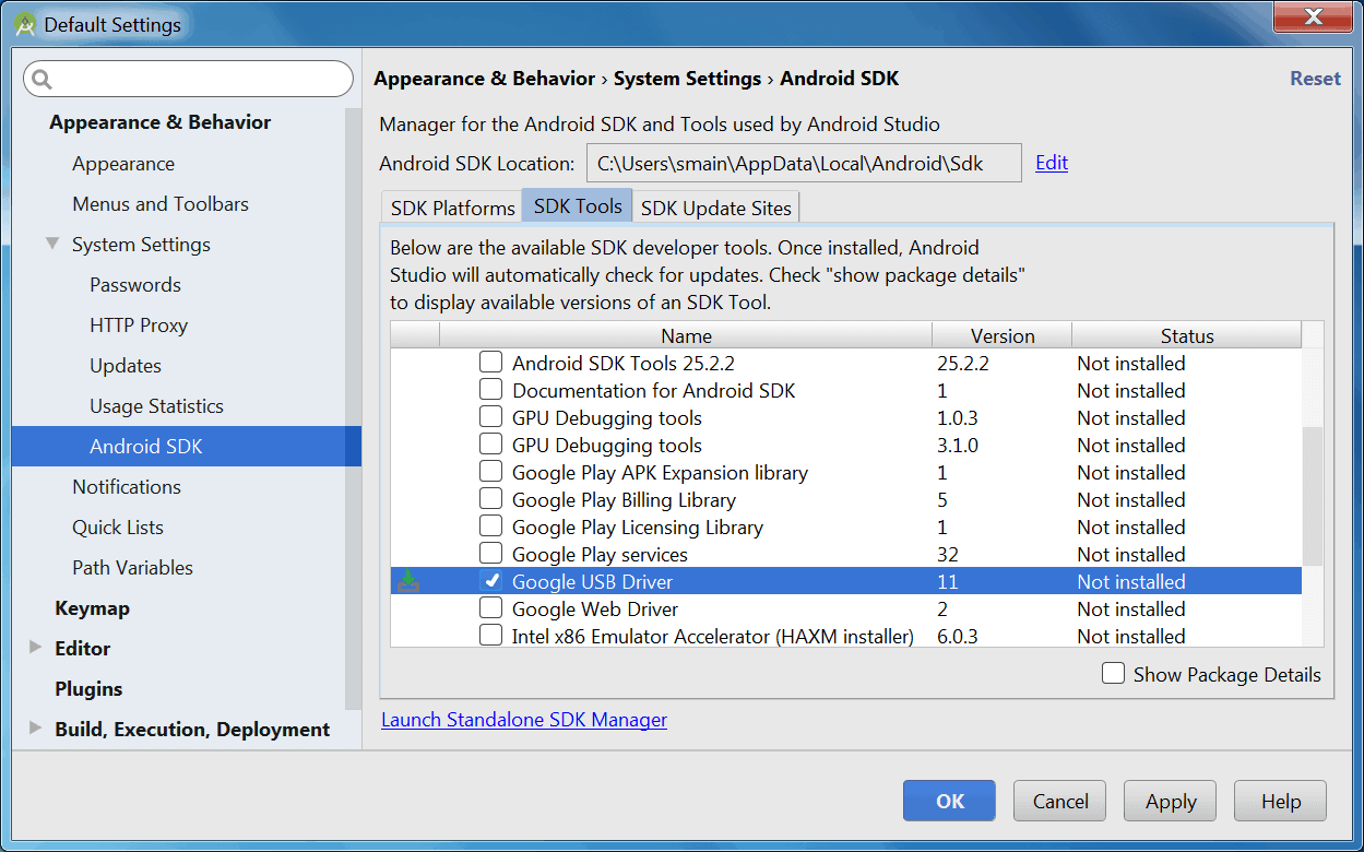 Android SDK Manager Windows USB