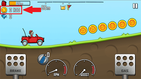 Hill Climb Racing 3130 Coins