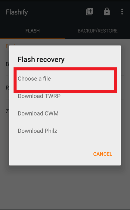 Flashify-Choose a file