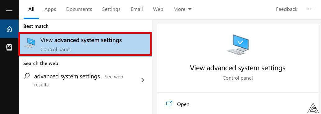 Windows Search Advanced System Settings